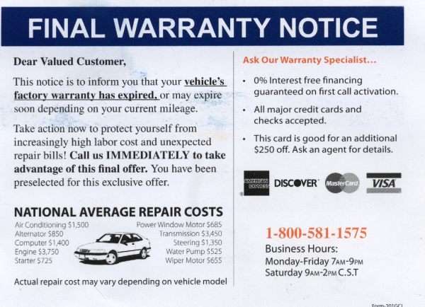 vehicle warranty scam brakeblog. Black Bedroom Furniture Sets. Home Design Ideas